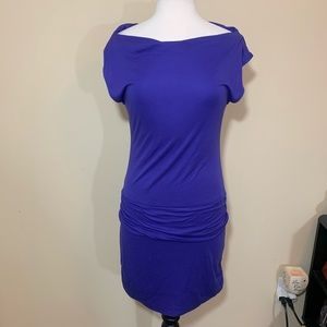 BCBG Maxazria purple drop waist dress draped neck